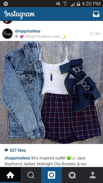 jacket jean jackets white tank top plaid shorts black wedges shoes shorts shoes jewels