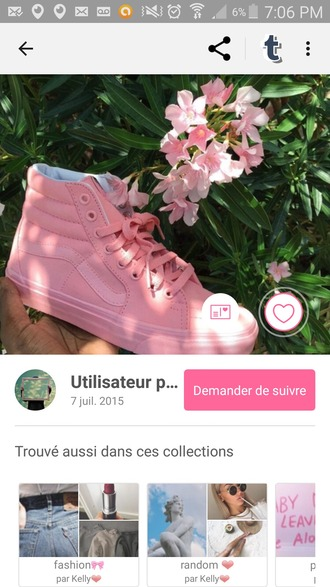 shoes vans pink love amazing rose sneakers sk8-hi