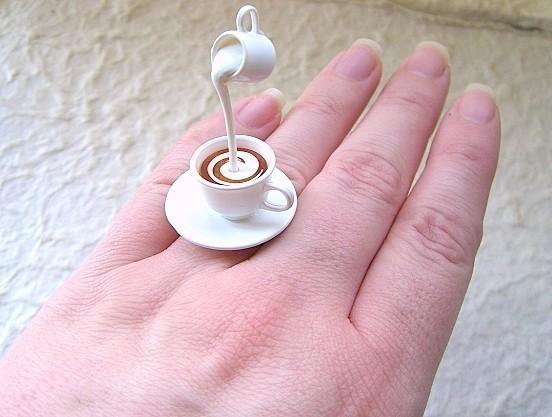 Kawaii Cute Japanese Ring  Tea With Cream by SouZouCreations