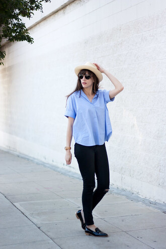 jeans and a teacup blogger shoes hat jewels sunglasses blue top blouse black jeans ripped jeans black flats white hat aviator sunglasses