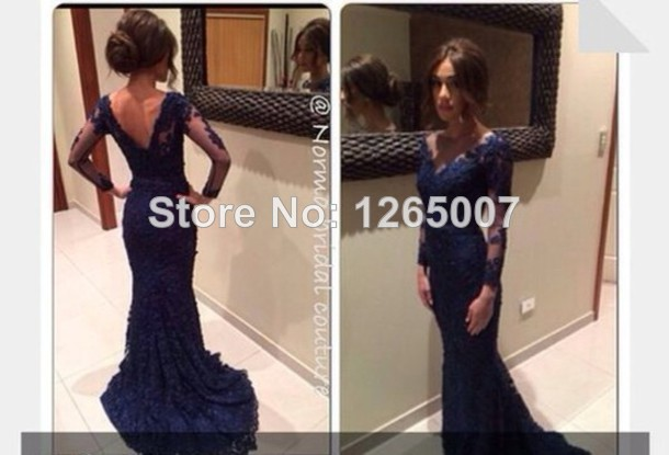 Aliexpress.com : Buy V Neck Long Sleeves Navy Blue Backless Elegant Evening Dresses New Fashion Long Dress Fashion Formal Special Occasion Dress from Reliable dress pump suppliers on SFBridal