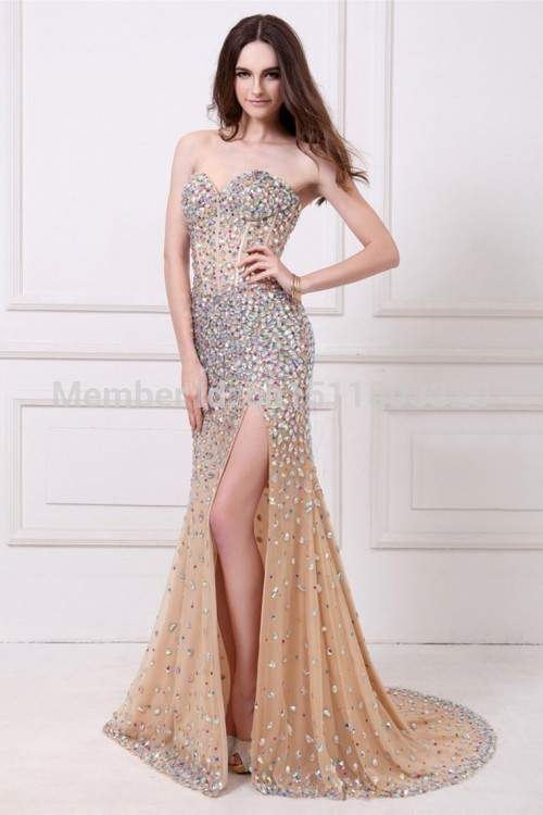 Aliexpress.com : Buy 2014 Shiny Crystal Beaded Bodice Celebrity Dress Mermaid Sweetheart Tulle Skirt from Reliable dresses missoni suppliers on Aojia Top Evening Dress