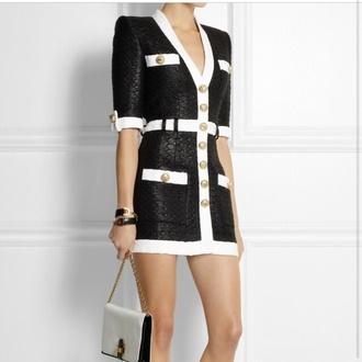 white pocket black balmain black and white dress classy elegant dress formal formal dress fashion button up buttons on front pockets gold