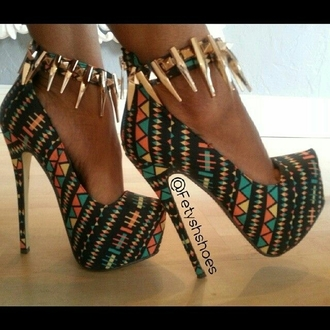 shoes heels high heels tribal pattern platform high heels spikes spiked shoes goth gothic shoes stilettos colorful shoes orange heels green heels