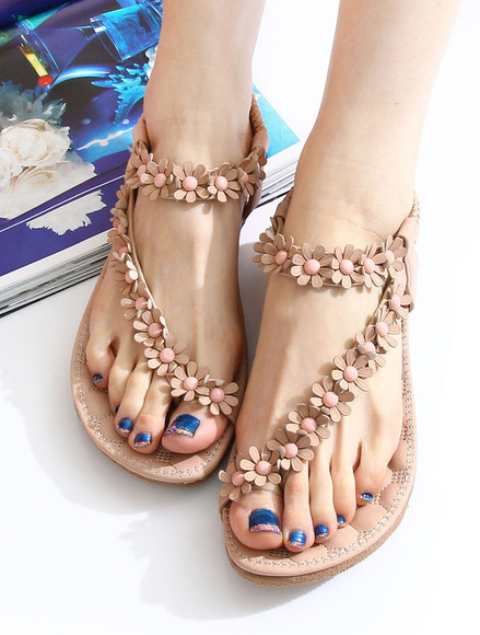 shoes sandal beaded sweet