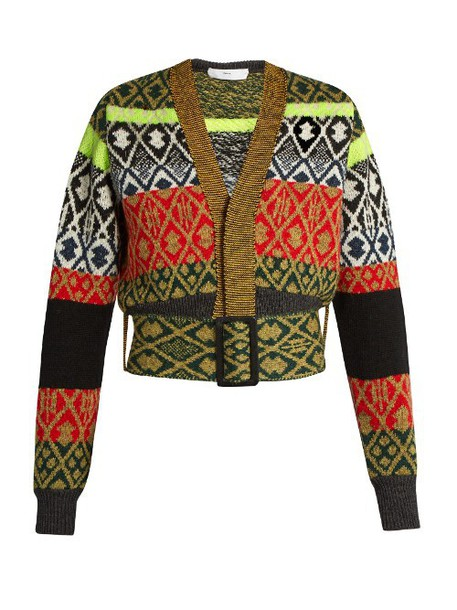 TOGA Long-sleeved wool-blend jacquard cardigan in green / multi