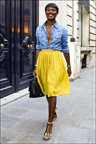 shirt yellow skirt denim shirt spring outfits