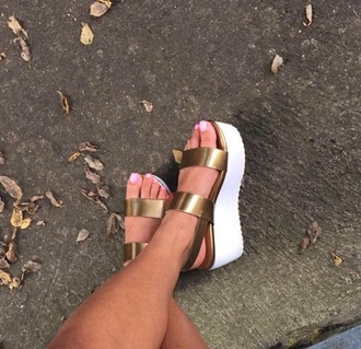 sandals open toes wedges gold