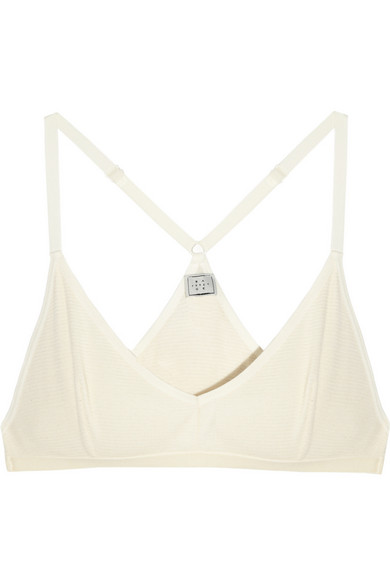 Base Range | Racer-back waffle-knit cotton soft-cup bra | NET-A-PORTER.COM