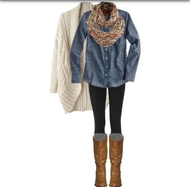 Shirt sweater cardigan boots leggings denim shirt denim fall autumn winter outfits ...
