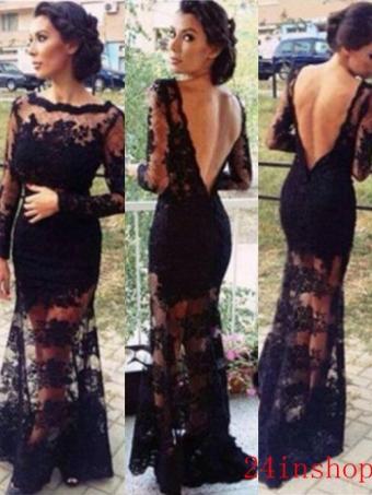 Black A-line Backless Long Lace Prom Dress, Lace Evening Dresses, Formal Dresses [B0086] - $228.99 : 24inshop