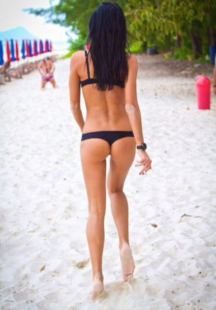 Swimwear: sexy black bikini, thong, black hair, tanned girl, beach ...