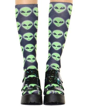 socks aliens space alien outer space galaxy print