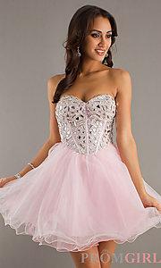 Beaded Strapless Short Dress, Short Beaded Prom Dress- PromGirl
