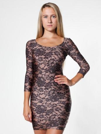 Lace Print Nylon Tricot 3/4 Sleeve Dress | Mini Long Sleeves | Women's Dresses | American Apparel