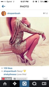dress,sparkly dress,silver,sparkle,gold dress,silver dress,glitter dress,short dress,long sleeve dress,backless dress
