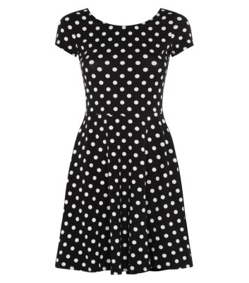 Black Monochrome Polka Dot Skater Dress