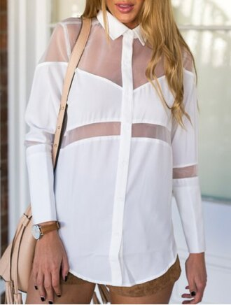 blouse white casual elegant top shirt fashion style see through collar long sleeves back to school