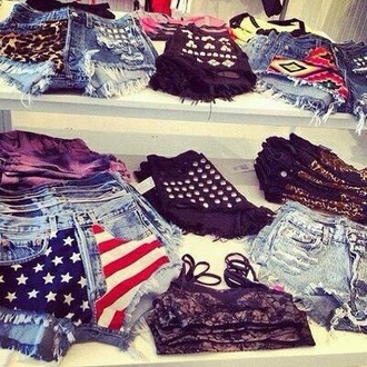 high waisted jeans denim shorts top style high waisted shorts underwear denim ripped jeans ripped shorts aztec classy streetstyle streetwear studs hot hot pants ripped prints prints shorts printed pants leopard print usa flag