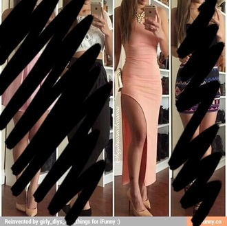 dress peach dress slit sexy cute hot summer peach dress