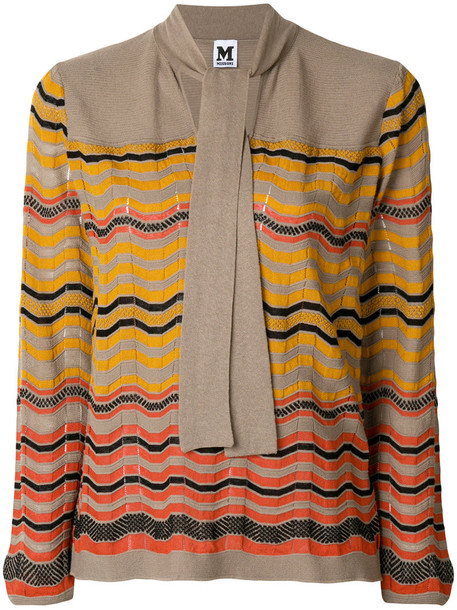 M Missoni top knitted top women cotton print wool yellow orange