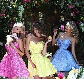 dress skater dress floral dress flowers pink dress pink yellow yellow dress light blue blue dress