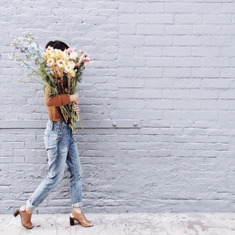 jeans denim spring overalls rust sweater denim overalls spring outfits flowers peep toe heels