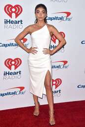 dress,one shoulder dress,sarah hyland,slit dress,sandal heels,celebrity