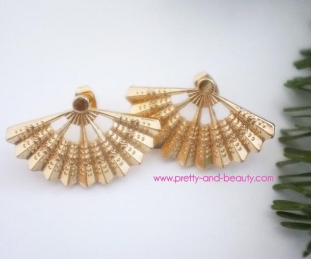 jewels earrings studs gold fan