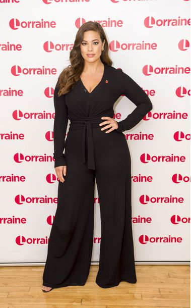 pants curvy plus size ashley graham wide-leg pants model off-duty top long sleeves