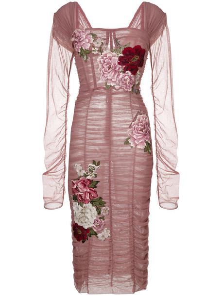 Dolce & Gabbana dress rose women spandex cotton purple pink