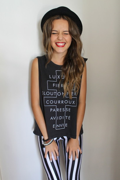 hat tank top jewels nail polish quote on it jeans shirt tank top hot t-shirt tumblr muscle tee muscle cute french black vertical pants white stripes cross leggings printed leggings goth hipster edgy edgy black hat striped leggings