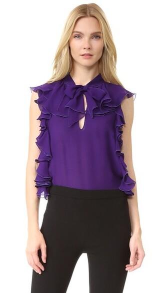 top sleeveless dark ruffle purple