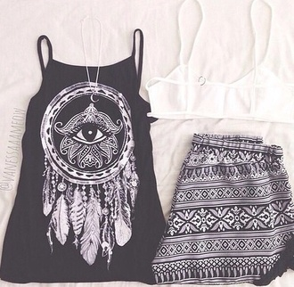top t-shirt shirt style fashion tribal pattern aztec black white tank top jewels blouse