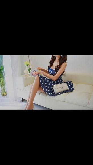 dots blue dress