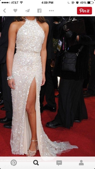 dress white dress pearl long dress long prom dress slit dress