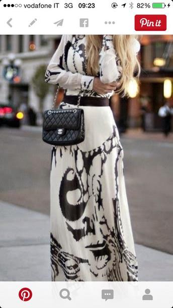 dress long dress white dress black and white dress