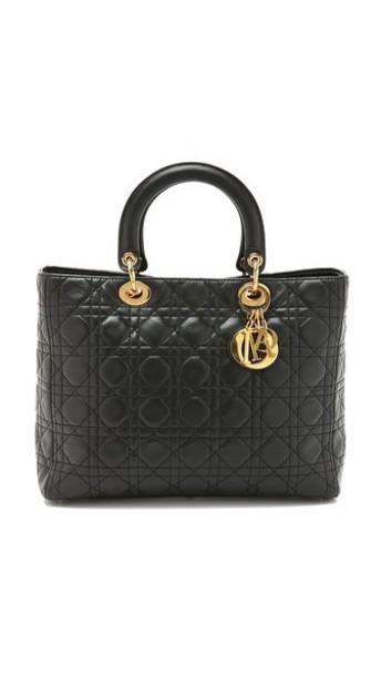 What Goes Around Comes Around Dior Lady Dior Bag - Black