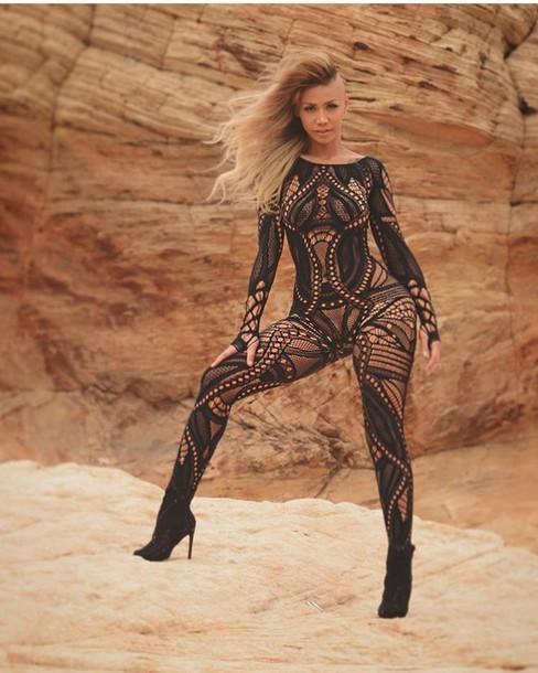 8c165c492a0 jumpsuit geometric bodysuit bodystocking lingerie black