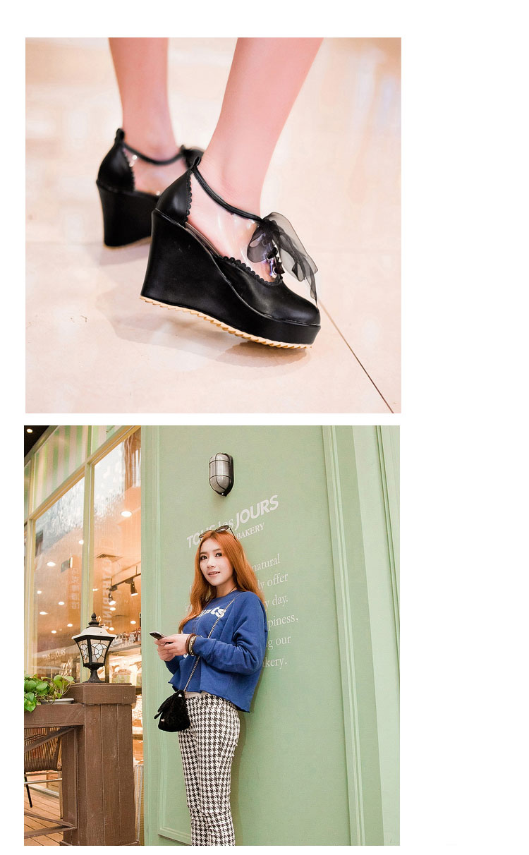 Romantic girl transparent lace up wedges (pink)