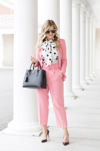 suburban faux-pas blogger jacket pants sunglasses blouse bag shoes blazer pink jacket pink pants handbag pumps spring outfits