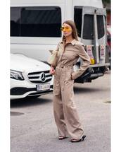 jumpsuit,long sleeves,mules,round sunglasses,bag