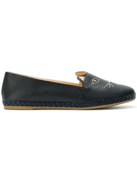 charlotte olympia women slippers leather blue shoes