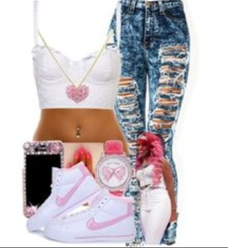 pants bahja rodriguez ripped jeans gotta have it baddies 17 summer outfits omg girlz pink pink by victorias secret styling my life diamonds jewels shoes tank top