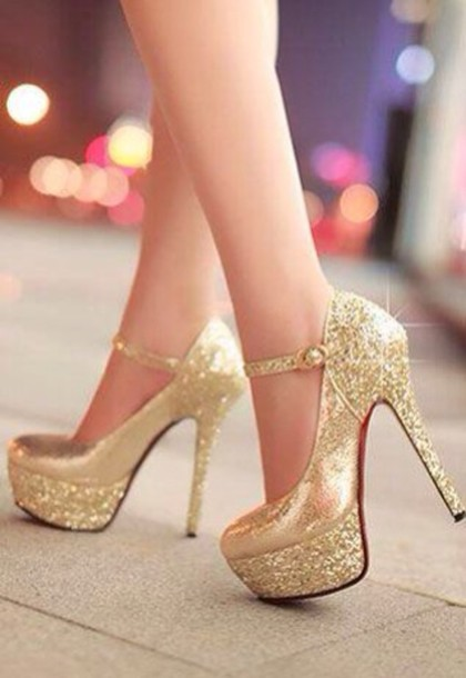 Shoes: gold, crystal, pumps, heels, hight heels, red sole, shiny ...