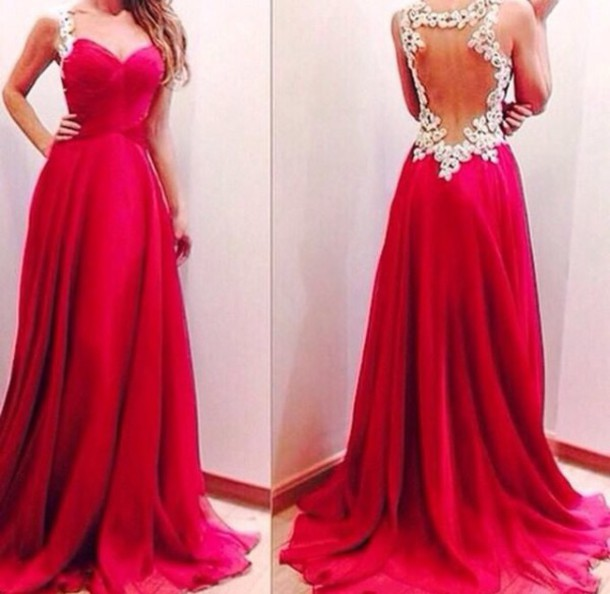 dress red dress prom dress chiffon a line dress lace dress