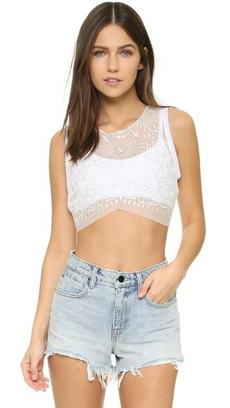 top bralette top embroidered white