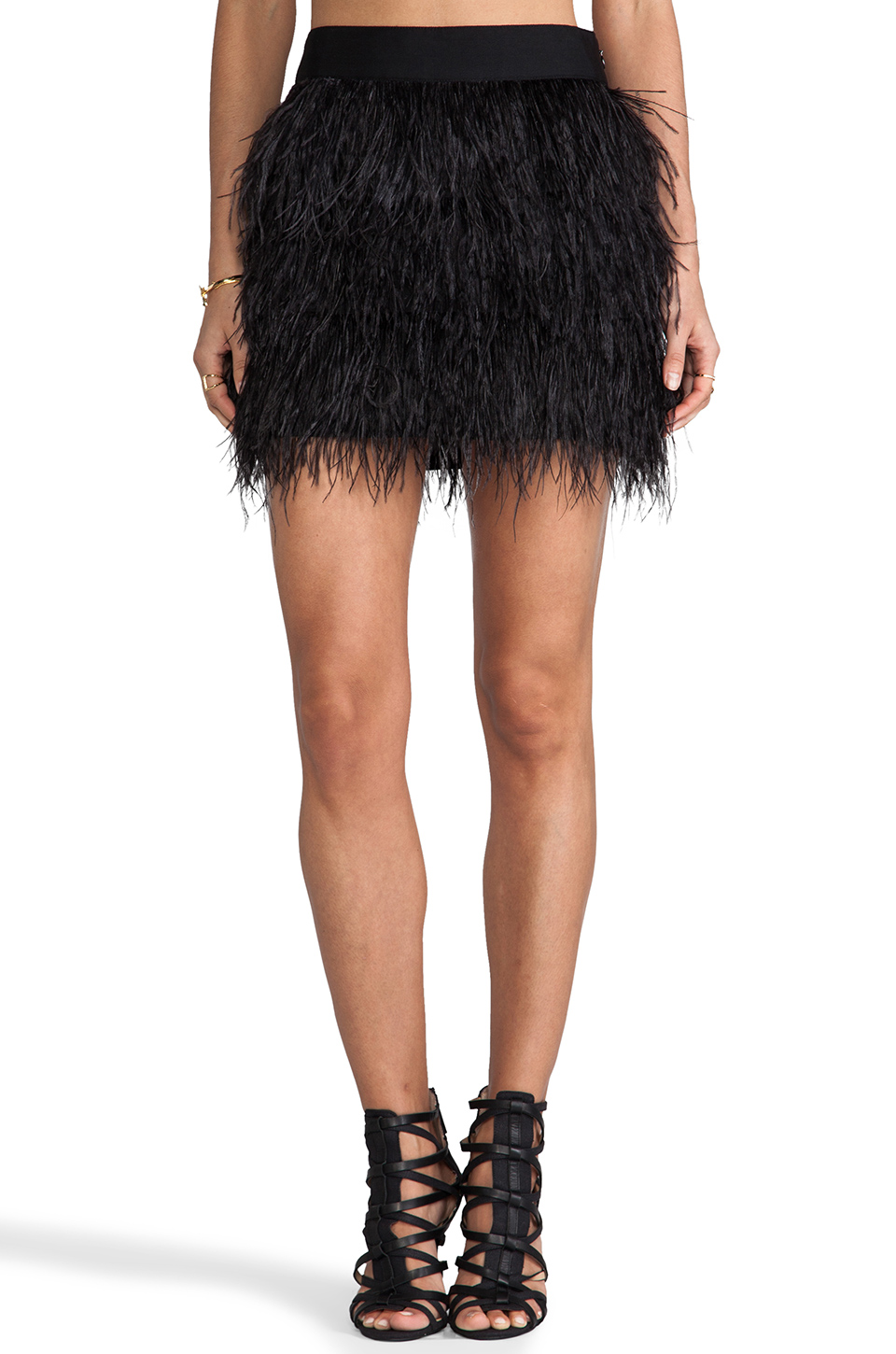 MILLY Cocktail Feather Mini Skirt in Black | REVOLVE