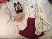 skirt,cardigan,shots,shoes,bows,flowers,outfit,date outfit,shirt,burgundy skirt,floral crop top