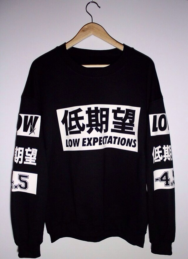 sweater hentai japanese japanese black white black and white w&b b&w streetstyle chic dope urban shirt white and black tshirt japanese fashion crewneck low expectations printed sweater sweatshirt swag chinese words tumblr hipster foreign chinese korean fashion unisex low pullover dope shit chinese writing crewneck sweater grunge top crew necks foreign langague jumper black sweater menswear